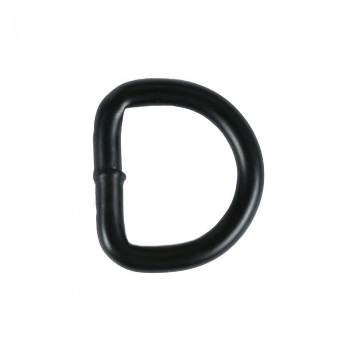 3/4 Inch Black Plated Metal D-Ring