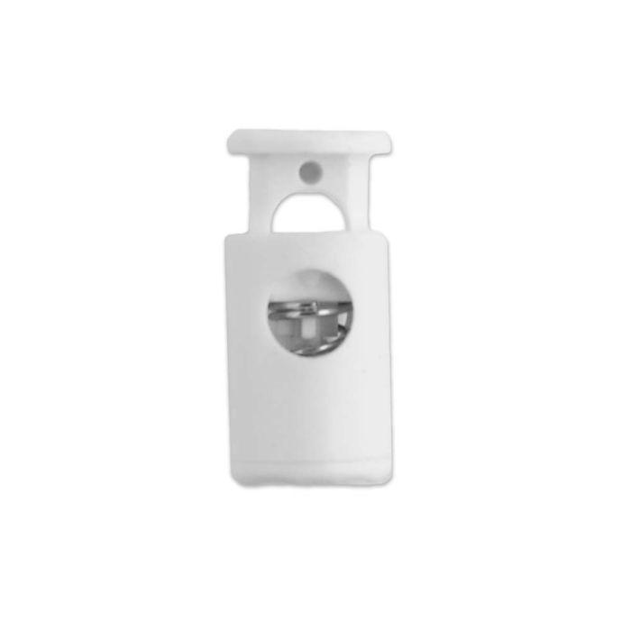 White Barrel Style Plastic Cord Lock