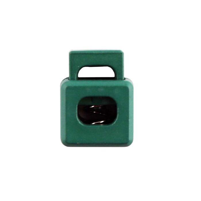 Green Block Style Plastic Cord Lock