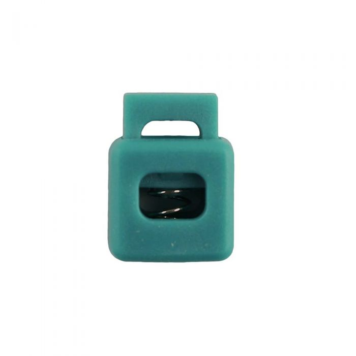 Teal Block Style Plastic Cord Lock