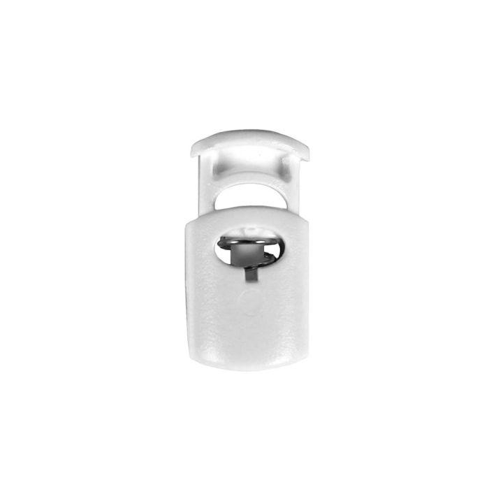 White Ellipse Style Plastic Cord Lock