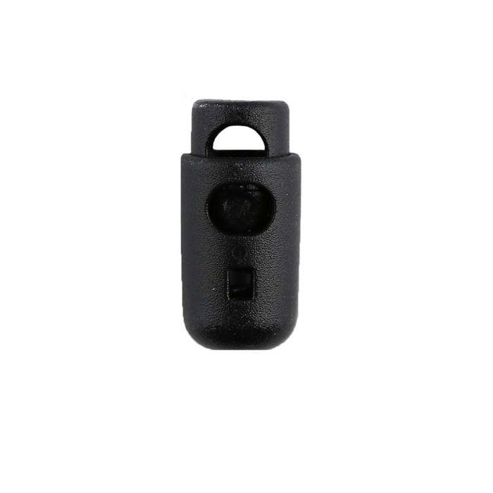 Black Round Barrel Style Plastic Cord Lock