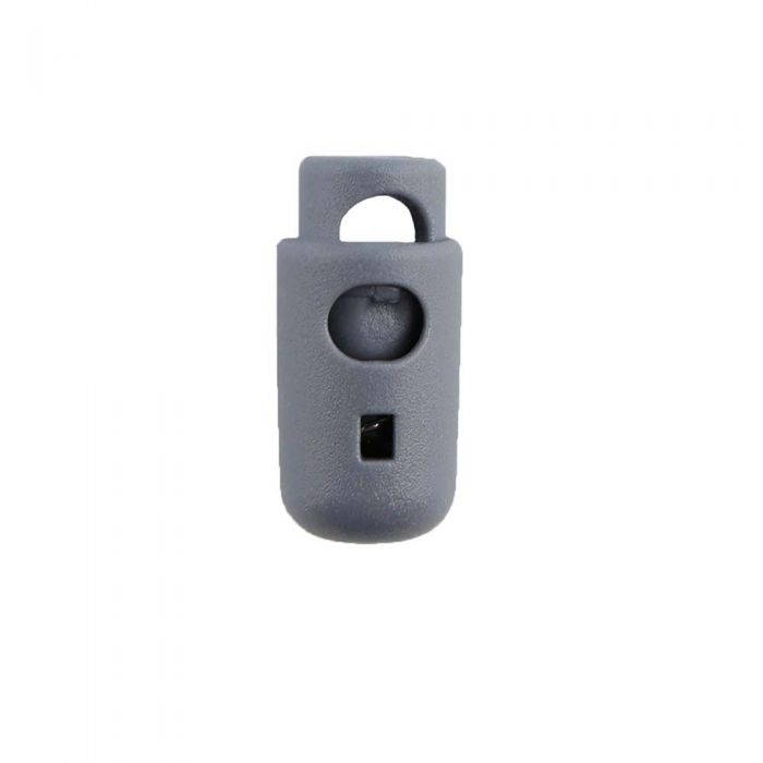 Gray Round Barrel Style Plastic Cord Lock