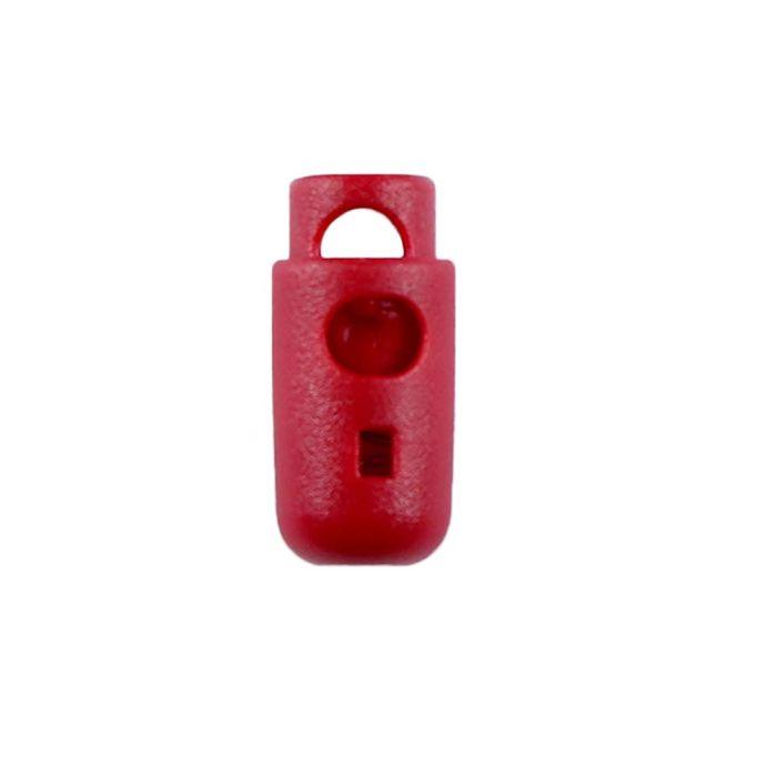 Red Round Barrel Style Plastic Cord Lock