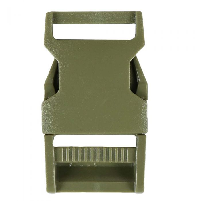 1 Inch Plastic Side Release Buckle Single Adjust Squared Army Green