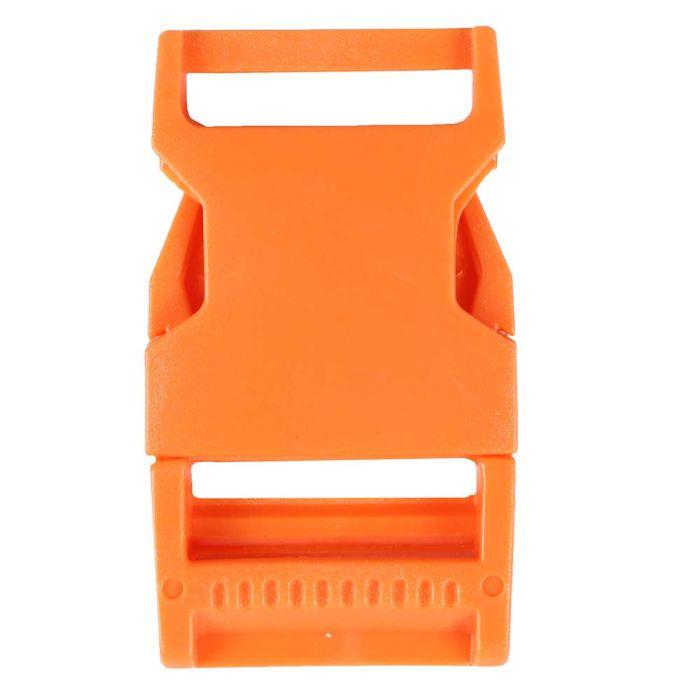 1 Inch Plastic Side Release Buckle Single Adjust Squared Orange