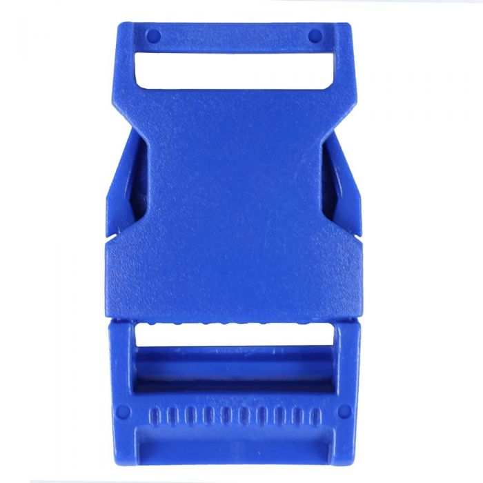 1 Inch Plastic Side Release Buckle Single Adjust Squared Pacific Blue