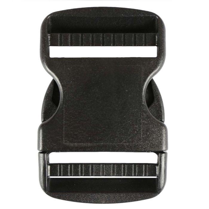 2 Inch Plastic Side Release Buckle Double Adjust Black