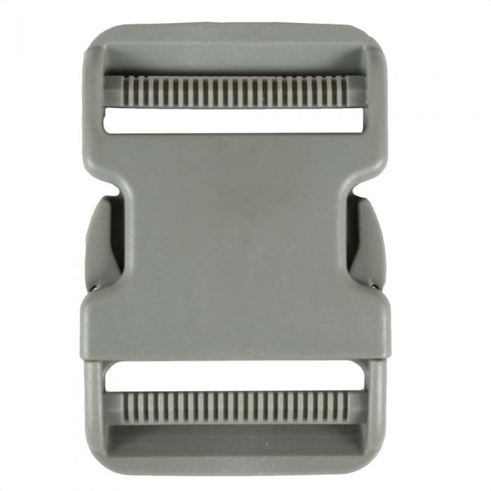 2 Inch Plastic Side Release Buckle Double Adjust Gray