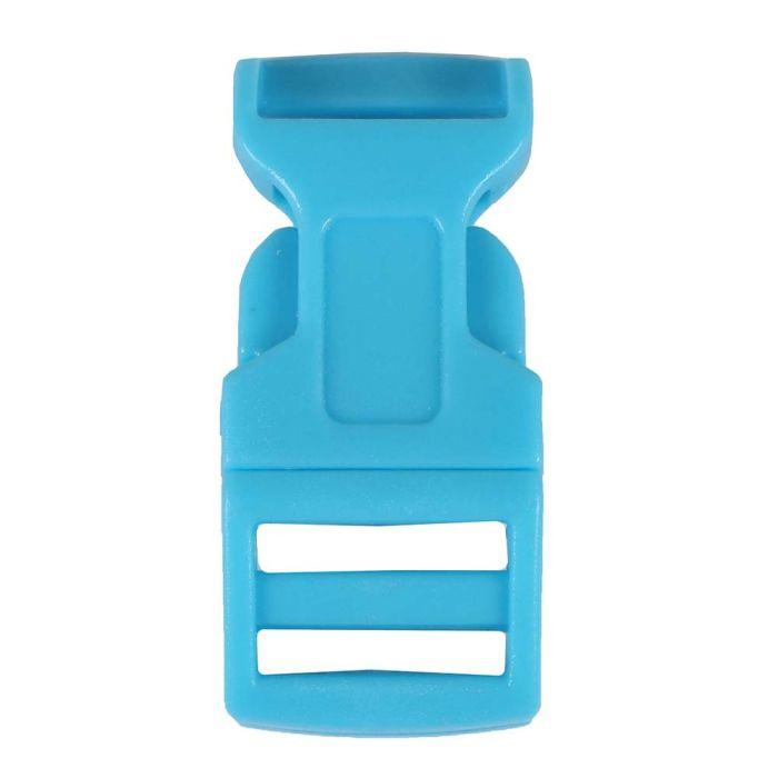1/2 Inch Plastic Side Release Buckle Single Adjust Contoured Arctic Blue