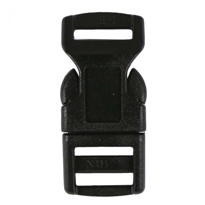 1/2 Inch Plastic Side Release Buckle Single Adjust Contoured Black