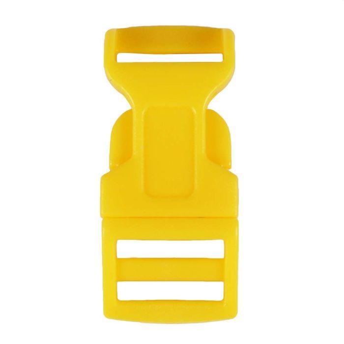 1/2 Inch Plastic Side Release Buckle Single Adjust Contoured Yellow