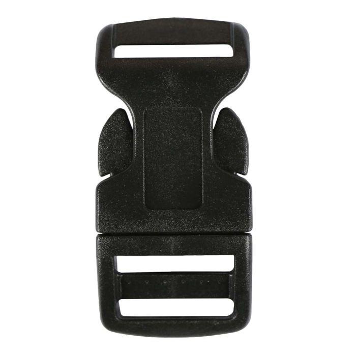 3/4 Inch Plastic Side Release Buckle Single Adjust Contoured Black