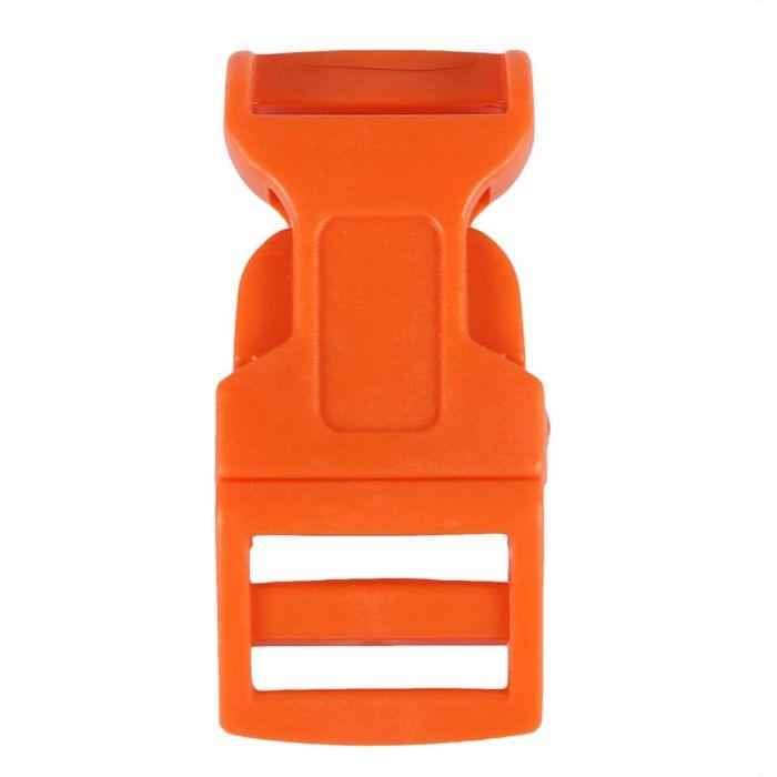 5/8 Inch Plastic Side Release Buckle Single Adjust Contoured Orange