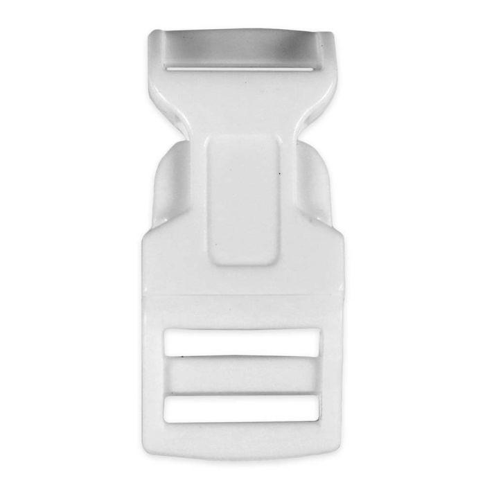 5/8 Inch Plastic Side Release Buckle Single Adjust Contoured White