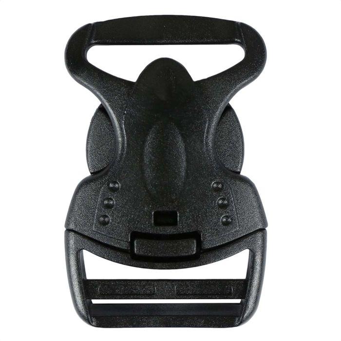 1 1/2 Inch Plastic Child Safe Side Release Buckle Single Adjust Black
