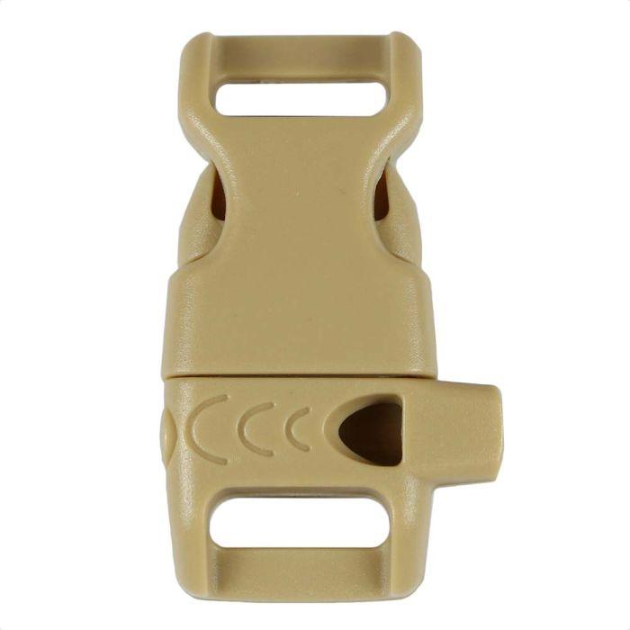 1/2 Inch Whistle Side Release Buckle No Adjust Contoured Desert Tan