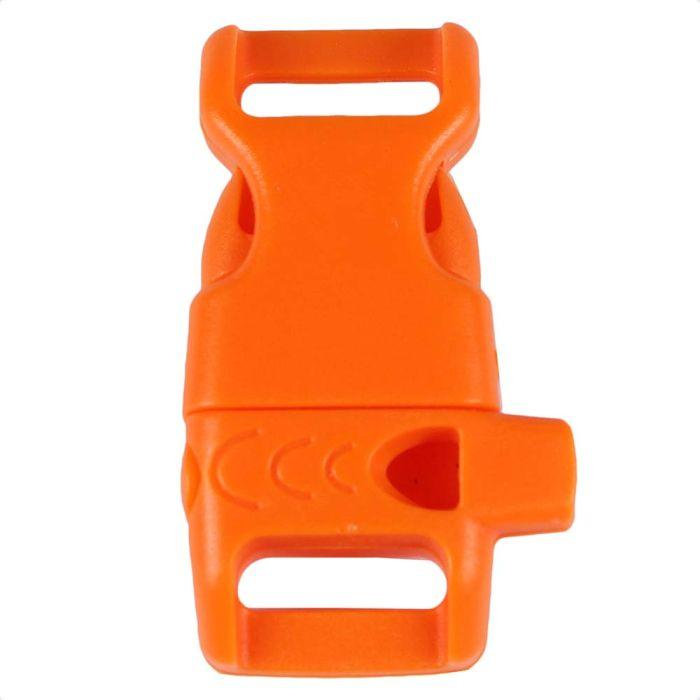 1/2 Inch Whistle Side Release Buckle No Adjust Contoured Orange