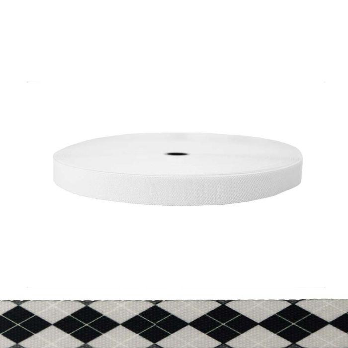 1 Inch Sublimated Elastic Argyle: Black and White