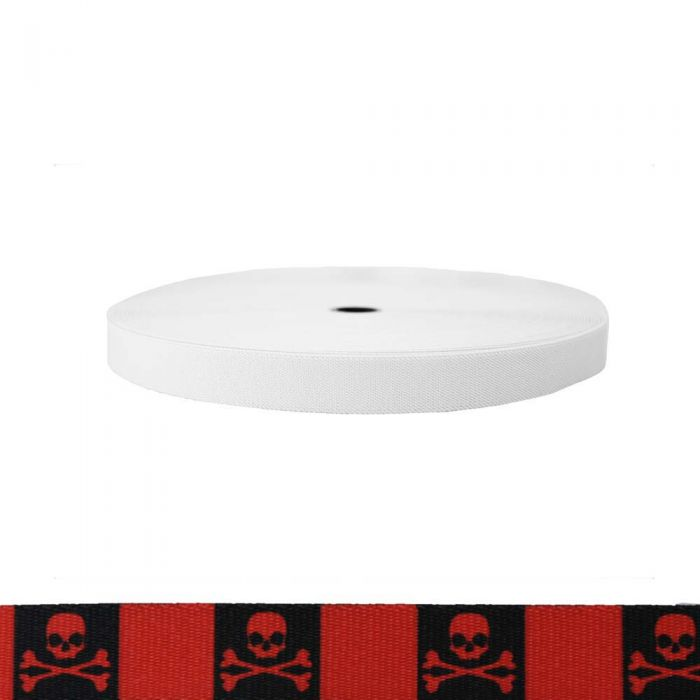 1 Inch Sublimated Elastic Jolly Roger Red