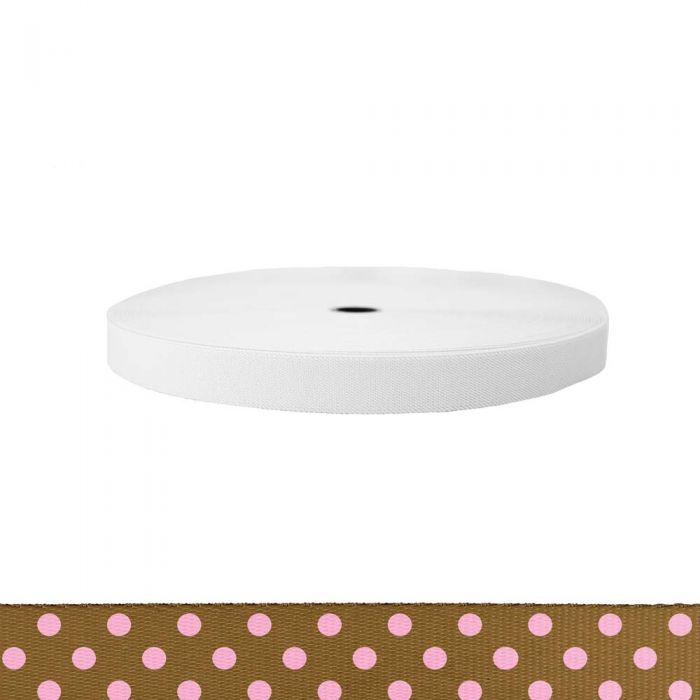 1 Inch Sublimated Elastic Polka Dots: Pink on Brown