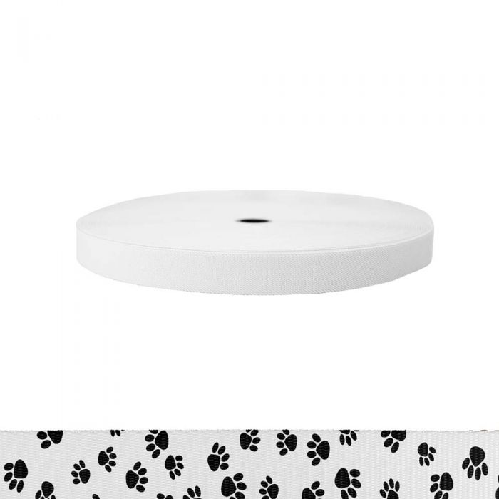 1 Inch Sublimated Elastic Puppy Paws: Black on White