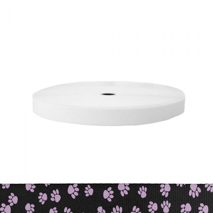1 Inch Sublimated Elastic Puppy Paws: Pink on Black