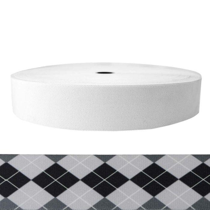 2 Inch Sublimated Elastic Argyle: Black and White