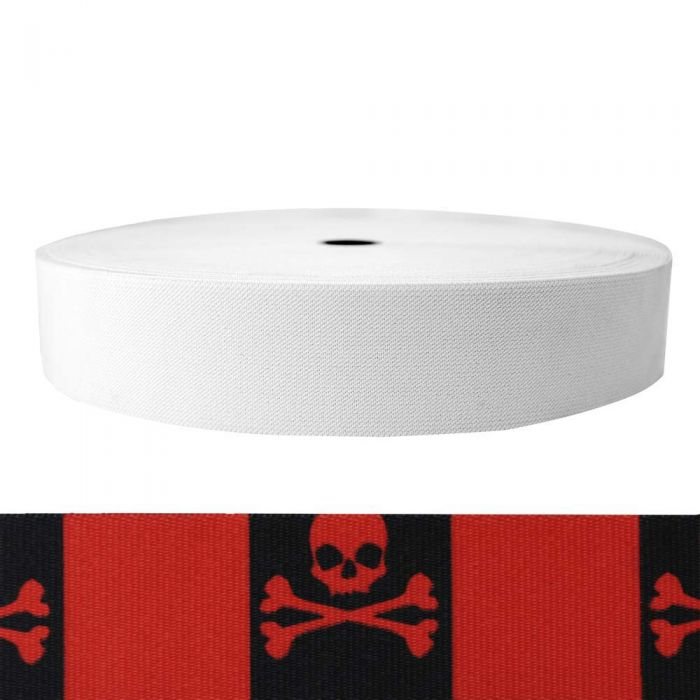 2 Inch Sublimated Elastic Jolly Roger Red