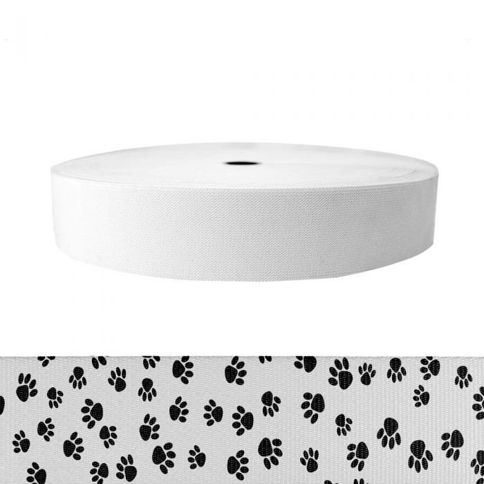 2 Inch Sublimated Elastic Puppy Paws: Black on White