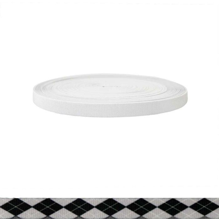 3/4 Inch Sublimated Elastic Argyle: Black and White