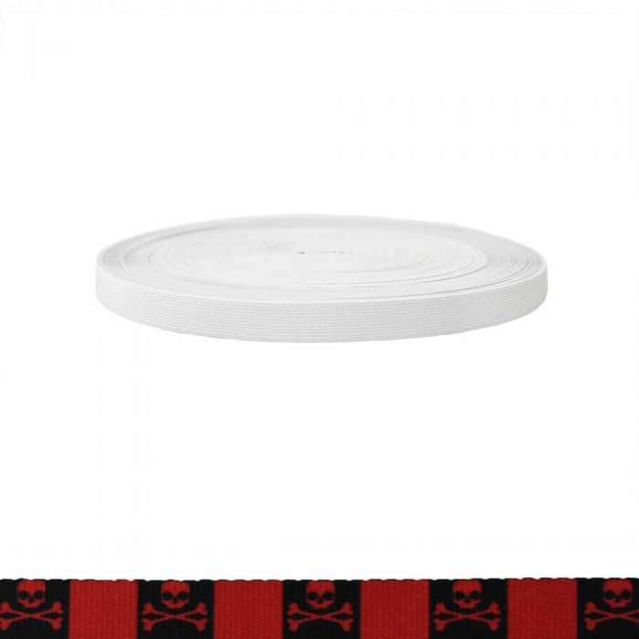3/4 Inch Sublimated Elastic Jolly Roger Red