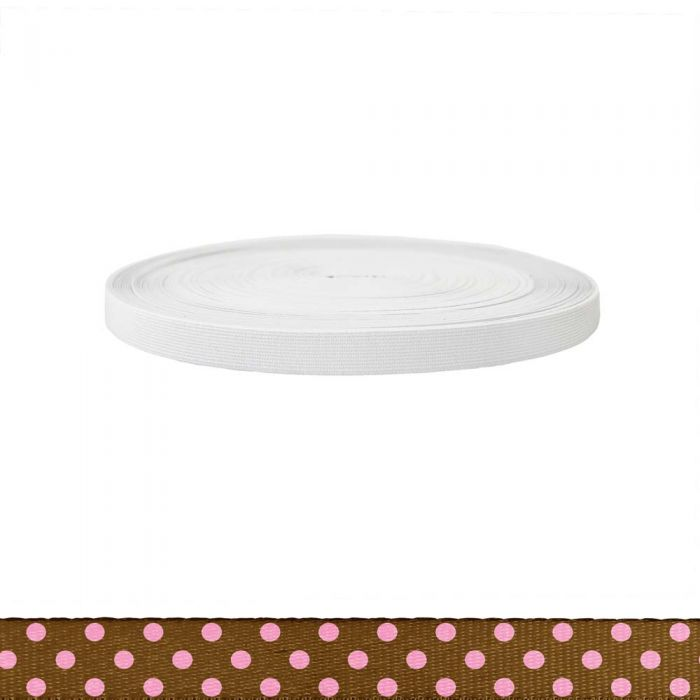 3/4 Inch Sublimated Elastic Polka Dots: Pink on Brown