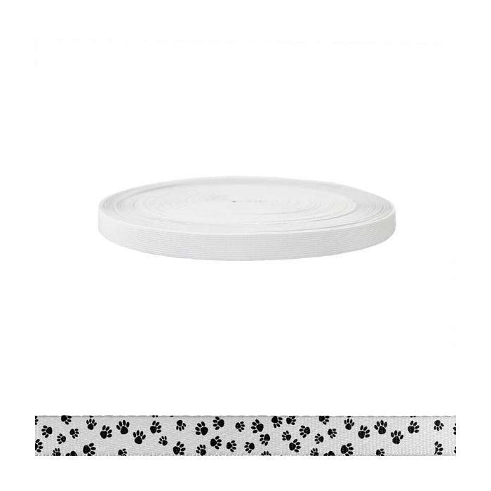3/4 Inch Sublimated Elastic Puppy Paws: Black on White