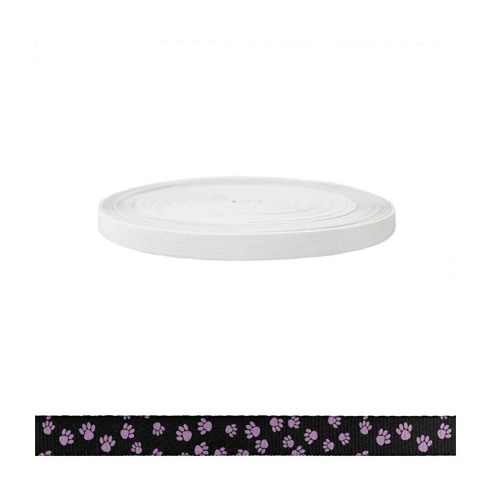 3/4 Inch Sublimated Elastic Puppy Paws: Pink on Black
