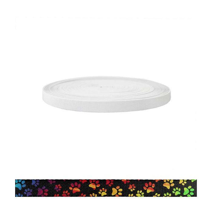 3/4 Inch Sublimated Elastic Rainbow Paws