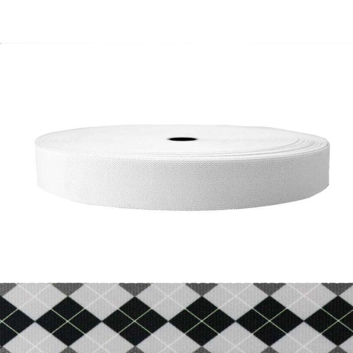 1-1/2 Inch Sublimated Elastic Argyle: Black and White