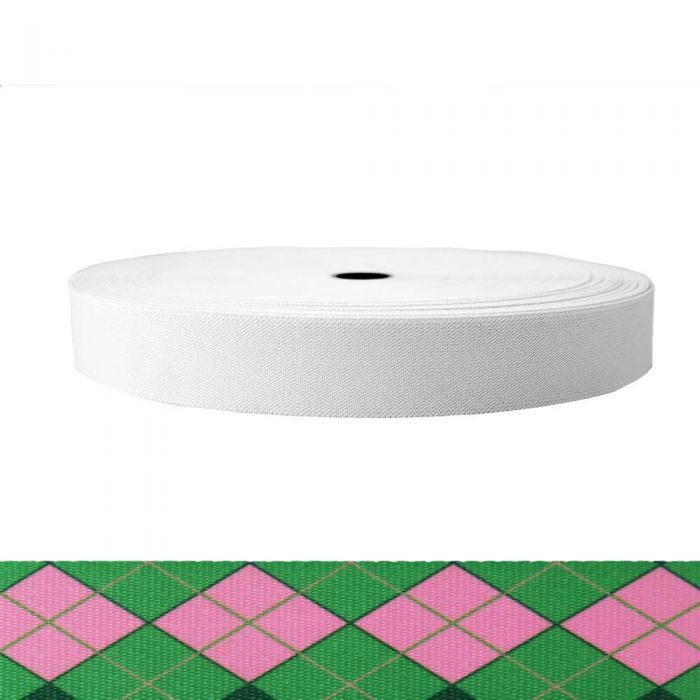 1-1/2 Inch Sublimated Elastic Argyle: Pink and Green