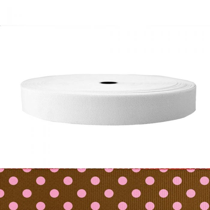 1-1/2 Inch Sublimated Elastic Polka Dots: Pink on Brown