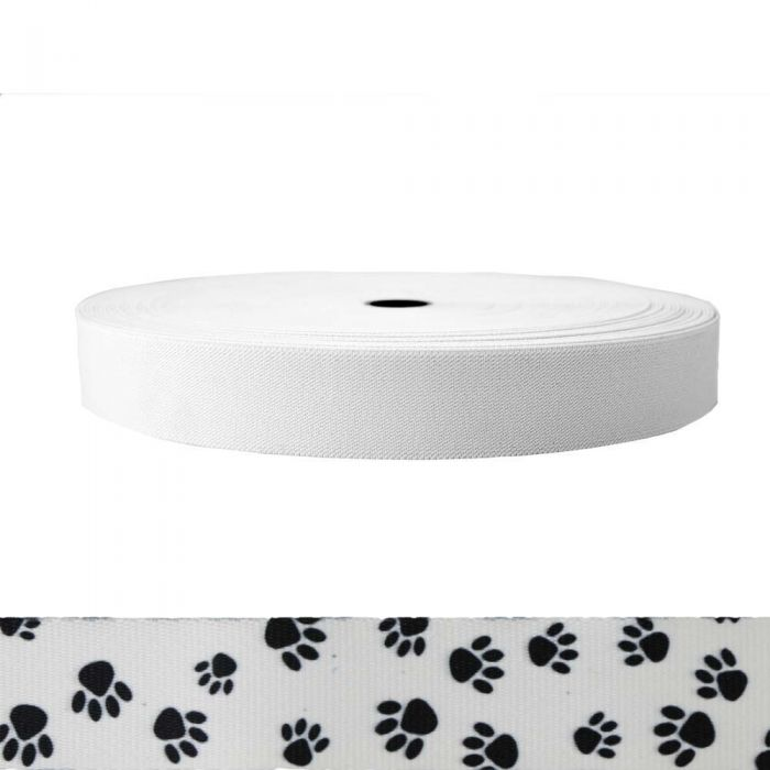 1-1/2 Inch Sublimated Elastic Puppy Paws: Black on White