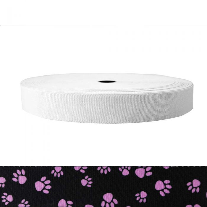 1-1/2 Inch Sublimated Elastic Puppy Paws: Pink on Black