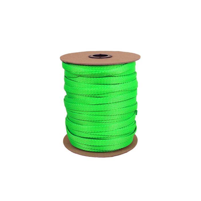 3/8 Inch Flat Nylon Hot Green
