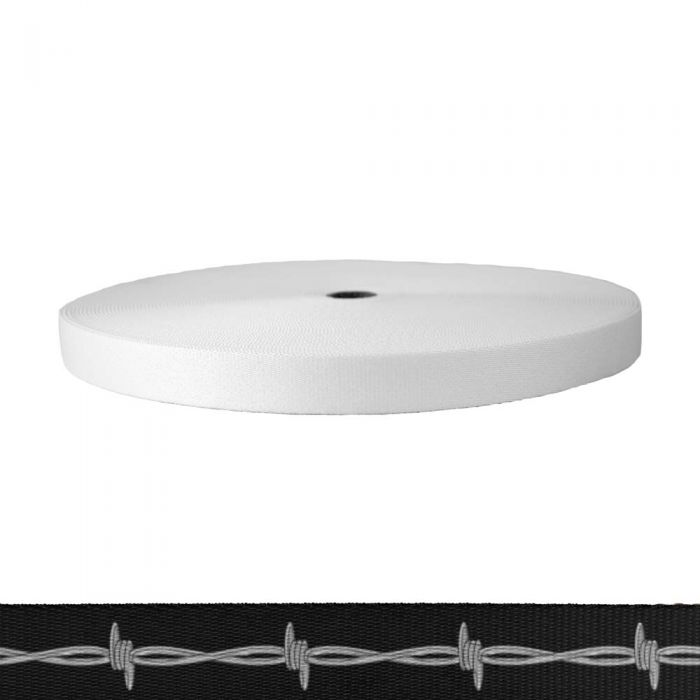 1 Inch Picture Quality Polyester Webbing Barbed Wire: Silver