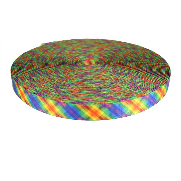1 Inch Picture Quality Polyester Webbing Calico Rainbow
