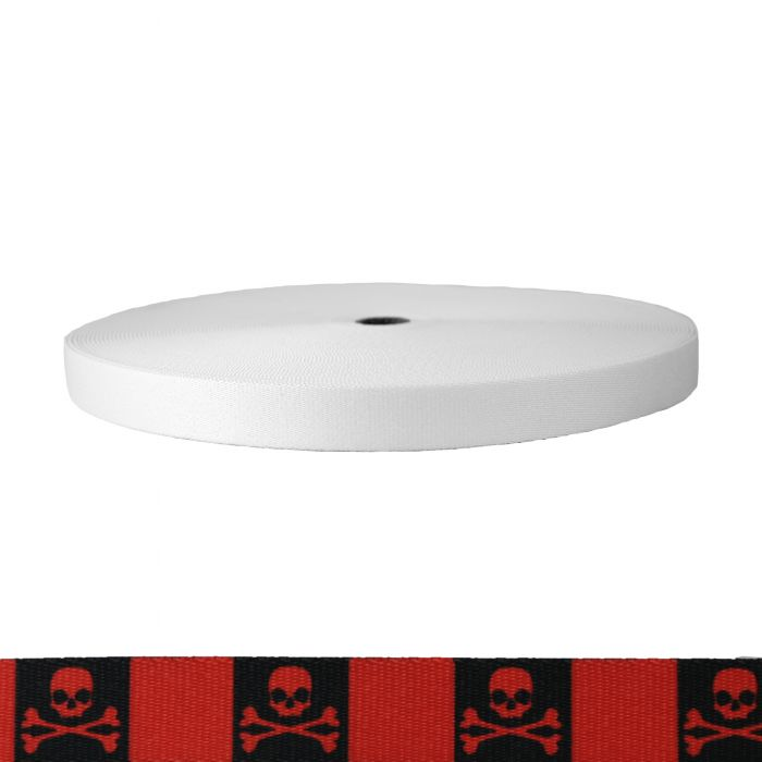 1 Inch Picture Quality Polyester Webbing Jolly Roger Red