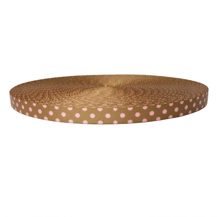 1 Inch Picture Quality Polyester Webbing Polka Dots: Pink on Brown