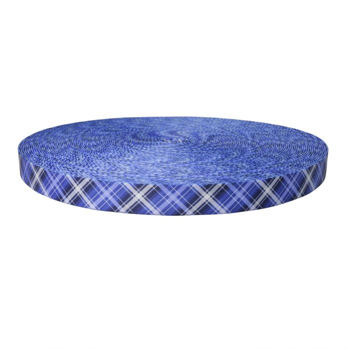 1 Inch Picture Quality Polyester Webbing Blue Plaid