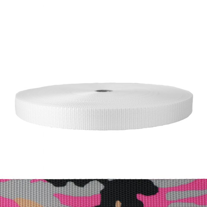 1 Inch Utility Polyester Webbing Camouflage Pink