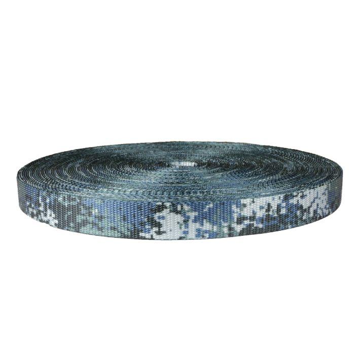 1 Inch Utility Polyester Webbing Camouflage Digital Blue