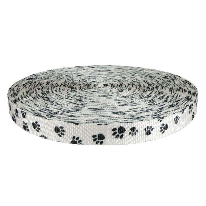 1 Inch Utility Polyester Webbing Puppy Paws: Black on White
